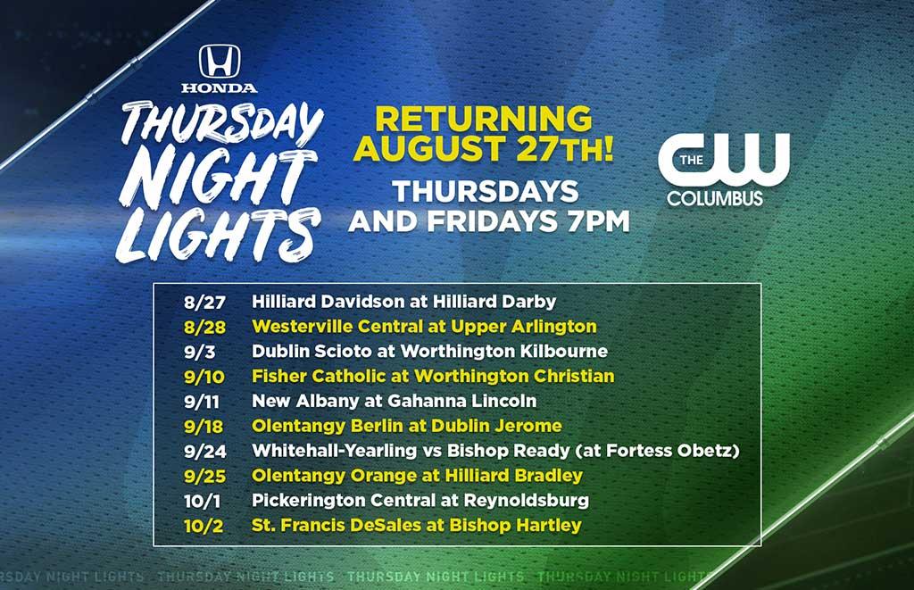 CW Columbus 2020 Honda Thursday Night Lights Schedule - QFM96